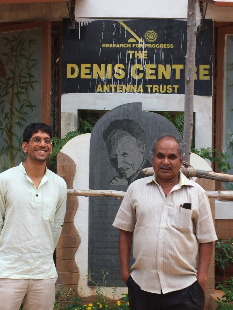 Saumil with Mano of Antenna in front of the new center named after the founder of Antenna Trust, Denis von Der Weid.
